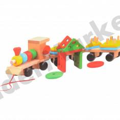Trenulet din lemn cu forme geometrice - Jocuri Forme si culori