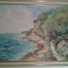 Tablou vechi W. E. Baer pictor elvetian - Pictor strain, Peisaje, Pastel, Realism