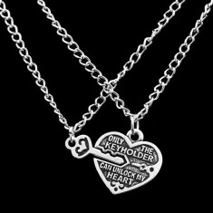 Pandantiv / Colier / Lantisor - Inima + Cheie Pentru Cuplu sau BFF - Pandantiv fashion