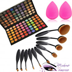 Set machiaj trusa 120 culori MAC + 10 pensule ovale theBalm cosmetics + buretel - Trusa machiaj Mac Cosmetics