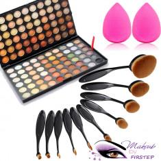 Set machiaj trusa 120 culori MAC + 10 pensule ovale theBalm cosmetics + buretel - Trusa make up