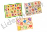 Jocuri puzzle din lemn - modele variate, 2-4 ani, 2D (plan)