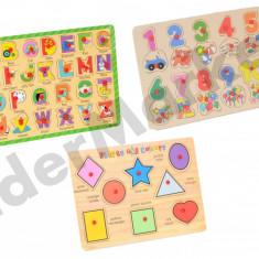 Jocuri puzzle din lemn - modele variate, 2-4 ani, 2D (plan), Unisex