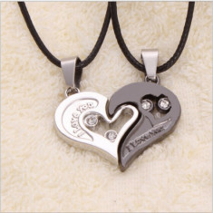 Pandantiv / Colier / Lantisor - Pentru Cuplu - I Love You - 2 INIMI - Pandantiv fashion