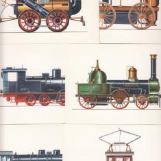 LOCOMOTIVE, ISTORIA LOCOMOTIVEI DE LA 1828 PANA LA 1942, LOT 12 CARTI POSTALE - Carte postala tematica, Necirculata, Printata