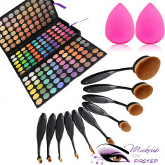 Set machiaj trusa 180 nuante MAC+ 10 pensule ovale + beauty blender buretel para - Trusa machiaj Mac Cosmetics