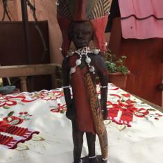 STATUETA INALTA DIN LEMN USOR, LUCRTA MANUAL, AFRICA - Arta din Africa