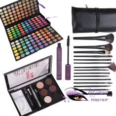 Trusa machiaj Mac Cosmetics 180 culori MAC + kit sprancene + 15 pensule NARS + rimel gene