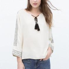 Bluza Zara, S, vascoza - Bluza dama, Marime: S, Culoare: Crem