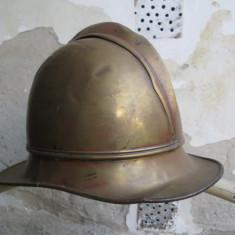 Casca germana de pompier, veche, cu interior original, marcata