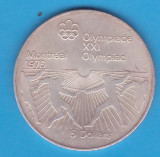 (1) MONEDA DIN ARGINT CANADA - 5 DOLLARS 1976, J.O. MONTREAL 1976 - SCRIMA, America de Nord