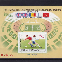 ROMANIA 1985 LP 1140 PRELIMINARIILE CAMP. M. DE FOTBAL MEXIC COLITA NEDANT MNH - Timbre Romania, Nestampilat