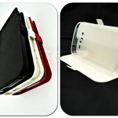 Toc FlipCover Stand Magnet Sony Xperia M4 Aqua ALB - Husa Telefon, Plastic, Cu clapeta, Husa