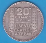 (8) MONEDA DIN ARGINT FRANTA - 20 FRANCS 1933, 20 GRAME, Europa