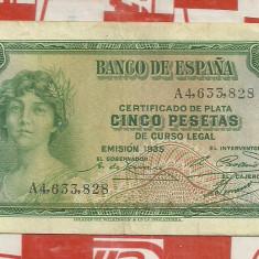 bancnota 5 pesetas Spania 1935