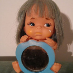 Jucarie papusa, papusica expresiva, cauciuc, made in Japan, stanta SHIBA, 14cm,