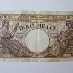2000 LEI 23 MARTIE 1943 FILIGRAN BNR - Bancnota romaneasca