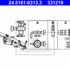 Furtun frana REINZ CITROËN C5 III limuzina 1.6 VTi 120 - ATE 24.5161-0313.3