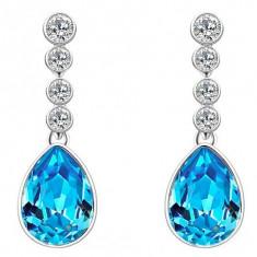 Cercei de dama, placati cu aur 9k, diamant albastru - Cercei placati cu aur