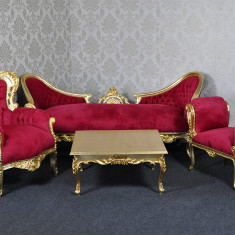 DCST04 - Set canapea, fotoliu, taburet si masuta cafea - clasice stil baroc, Canapele fixe