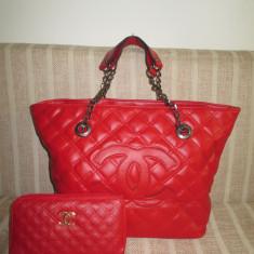 Set dama geanta si portofel rosii Chanel+CADOU - Geanta Dama Chanel, Culoare: Din imagine, Marime: Mare, Geanta de umar, Asemanator piele
