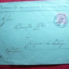 Plic circ. 10 pf. rosu Wurtemberg 1894, Antet Hermann Qll Bellenhausen