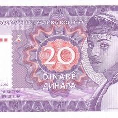 Bancnota Kosovo 20 Dinari 2016 - SPECIMEN ( proba pe hartie cu filigran ) - bancnota europa