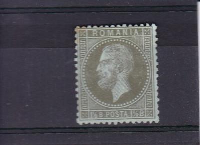 ROMANIA 1872 , LP 38a , CAROL I PARIS 1 1/2 VERDE OLIV PE VERZUI , SARNIERA foto