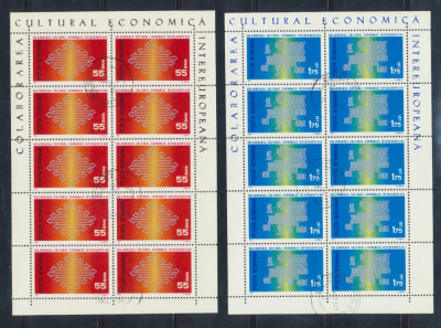 1971 ROMANIA Colaborarea Cultural Economica intereuropeana 2 colite stampilate foto