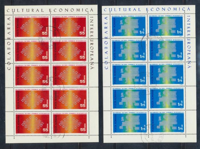 1971 ROMANIA Colaborarea Cultural Economica intereuropeana 2 colite stampilate