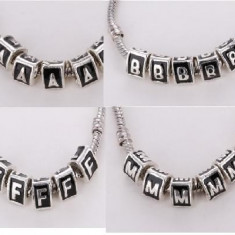 Charm talisman pandantiv LITERE (pt bratara pandora piele/argint 925) - Bratara argint pandora, Femei