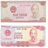 Bancnota Vietnam 200 si 500 Dong 1988 - P100-101 UNC ( set 2 bancnote ) - bancnota asia
