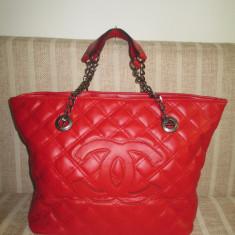 Geanta dama rosie mare Chanel+CADOU, Culoare: Din imagine, Geanta de umar, Asemanator piele