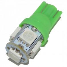 BEC AUTO INTERIOR LED W5W T10 -5 SMD LEDURI POZITII INTERIOR SMD PLAFON verde - Led auto SunTop, Universal