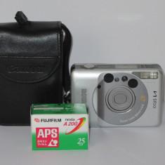 Canon Ixus L-1 (26mm f2.8) +Husa+ Film sigilat Fujifilm Nexia A200 APS -Raritate - Aparat Foto cu Film Canon