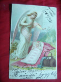 Litografie -Copil, Ingerul Pazitor circ1902Porumbenii Mari ( Harghita) la Recas, Circulata, Printata