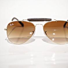 Ochelari de soare Ray Ban RB 3422Q 01.51 outdoorsman, Unisex, Maro, Pilot, Metal, Protectie UV 100%