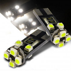 BEC AUTO LED POZITIE W5W T10 - 8 SMD LEDURI POZITII INTERIOR BEC SMD alb rece - Led auto SunTop, Universal