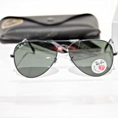 Ochelari de soare Ray Ban RB 3025 002/58 Polarizati, Unisex, Verde, Pilot, Metal, Polarizare