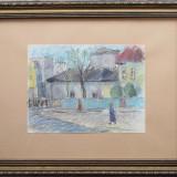 Peisaj urban cu personaje - semnat T.Harsia - Pictor roman, Peisaje, Pastel, Altul