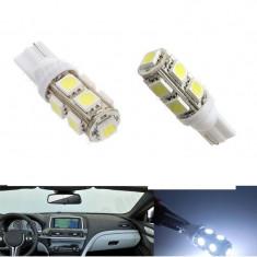 BEC AUTO LED POZITIE W5W T10 - 9 SMD LEDURI POZITII INTERIOR BEC SMD alb rece - Led auto SunTop, Universal