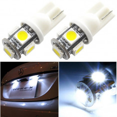 BEC AUTO LED POZITIE W5W T10 -5 SMD LEDURI POZITII INTERIOR SMD BEC PLAFON alb - Led auto SunTop, Universal