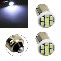 BEC AUTO LED LEDURI POZITIE BA9S BAX9S BAY9S - 8 SMD - POZITII NUMAR ALB - Led auto SunTop, Universal
