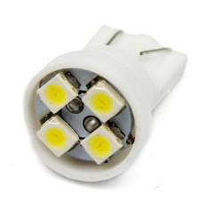 BEC AUTO INTERIOR LED W5W T10 -4 SMD LEDURI POZITII INTERIOR SMD PLAFON ALB - Led auto SunTop, Universal