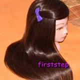 Cap practica coafor frizerie manechin PAR Saten NATURAL 55 cm + pupeta suport