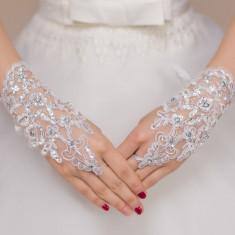 GL8-2 Manusi scurte elegante, accesorizate cu pietricele - Manusi Dama, Marime: Marime universala