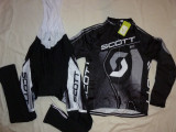 Echipament ciclism SCOTT negru complet iarna toamna set NOU bluza pantaloni, Tricouri