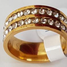 Superb inel - verigheta 9k GOLD FILLED cu zircon cz. Marimea 7 - Inel placate cu aur