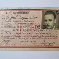 RARA! LEGITIMATIE COLEGIUL INGINERILOR SPECIALITATEA ELECTRICITATE 1943