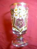 Pocal cristal cu monograma FP (sau TP ?) aur coloidal, pictat manual,h=14,7cm